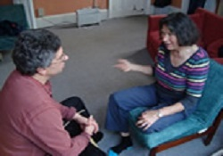 Two people having a session